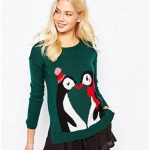 Hollister XS Green Sweater Holiday Penguins